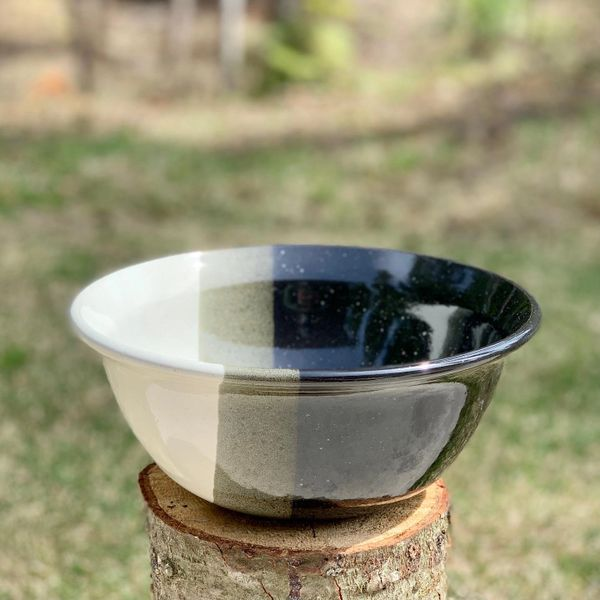 Black and White Flared Rim Utility Bowl.