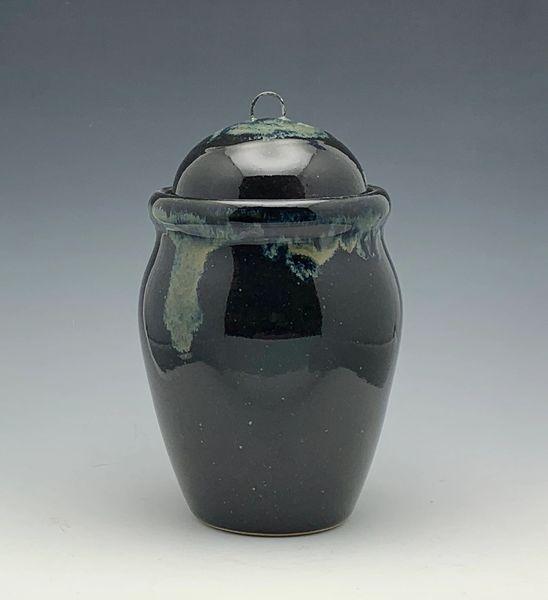 Small Black Lidded Jar with Galaxy glaze