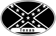 Confederate Flag Oval Texas