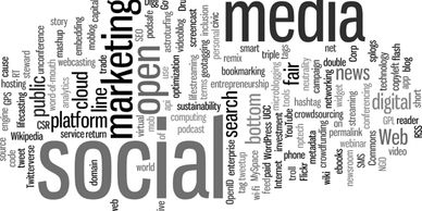 Social media word cloud for Hathaway PR social media services.