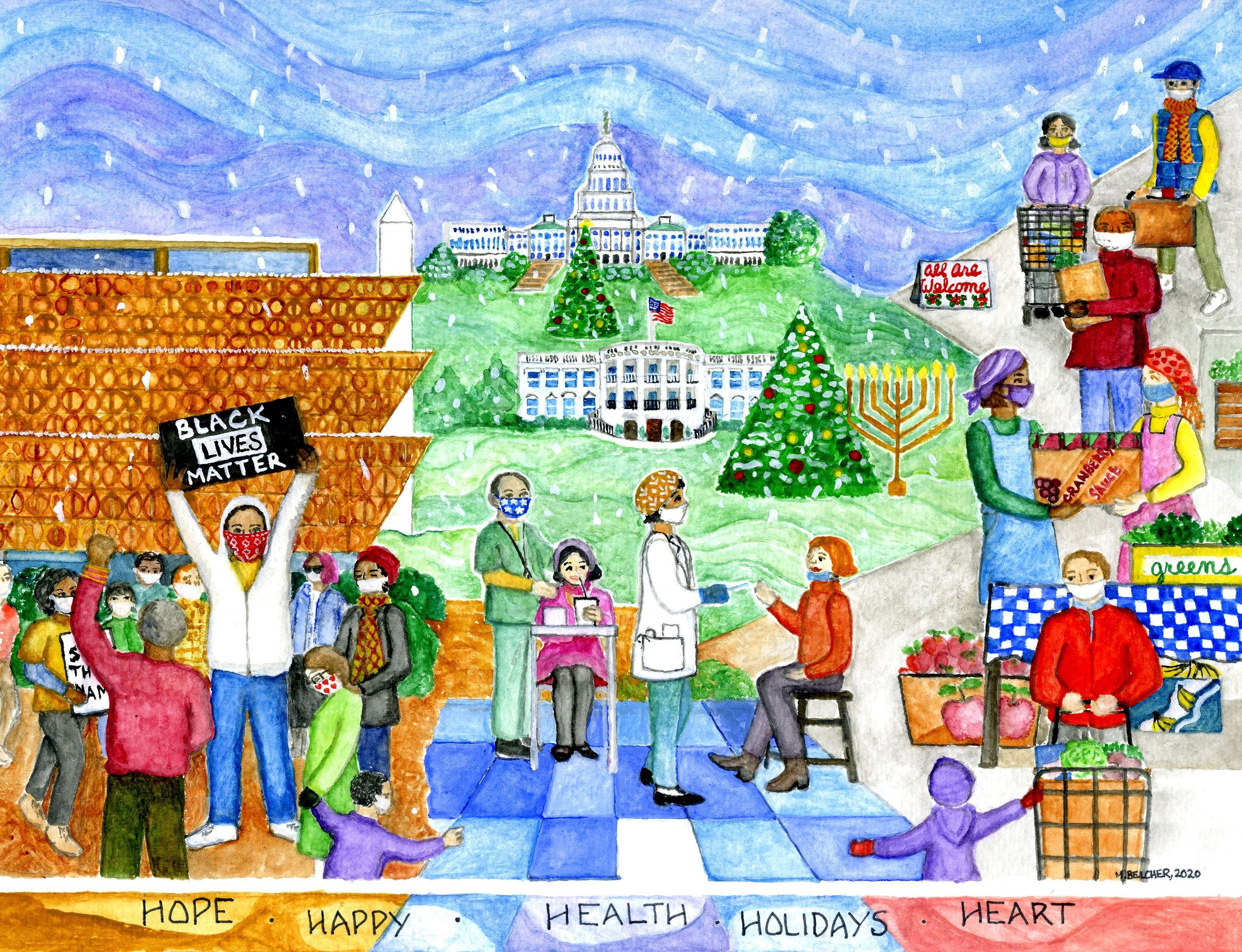 Hope, Health, and Heart: Happy Holidays, 2020, watercolor by Mary Belcher, marybelcher.com.