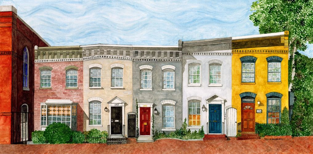 The Rowhouses next to Mt. Zion Church, Georgetown, DC, by Mary Belcher, 2014