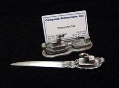 Tugboat Desk Set (Business Card Holder & Letter Opener)