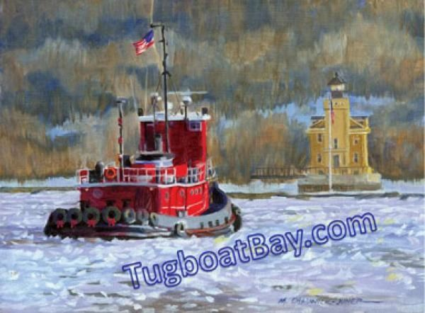 """Seasons Tidings"" Tugboat & Lighthouse Holiday Card #3"