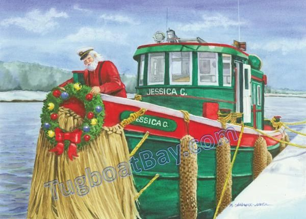 """Captain Santa Dockside on Jessica C."" Great Lakes Tug Card #5"