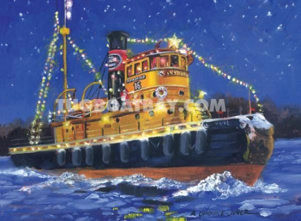 """Holiday on Ice"" Tugboat Christmas Card #6"