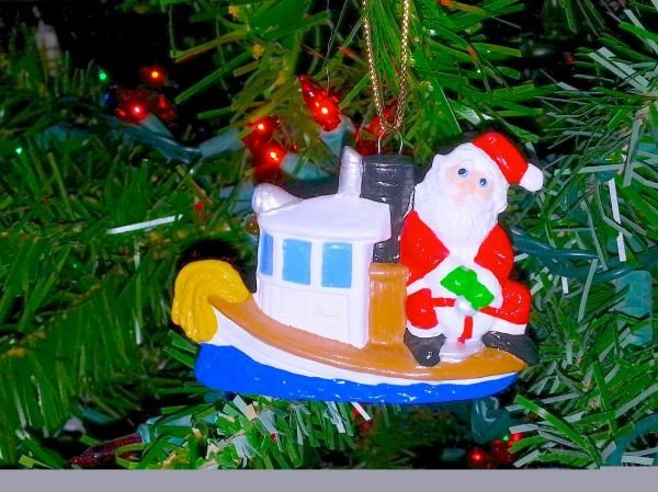 Tugboat Santa Christmas Ornament