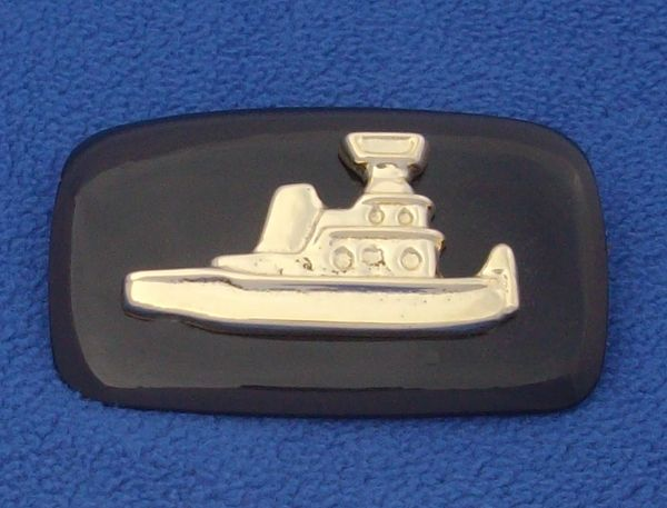Columbia River Buckle on flat black(Tugboat Towboat Belt Buckle)