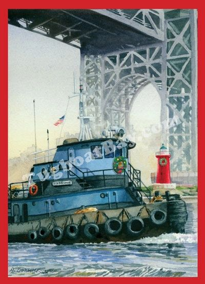 """A Holiday Encounter with the Little Red Lighthouse"" Tugboat & lighthouse Holiday Card #4"