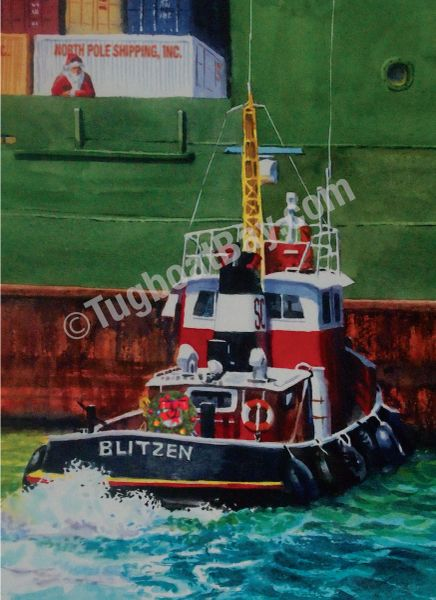 """North Pole Shipping Inc."" Tugboat Christmas Card #8"