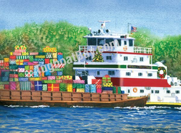 """Barge Load"" inland USA river Towboat Christmas Card #9"