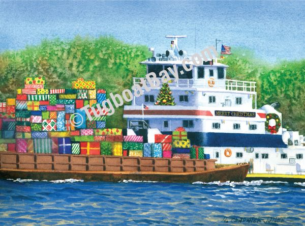 """Barge Load"" custom Ingram Marine Towboat Christmas Card #9i"
