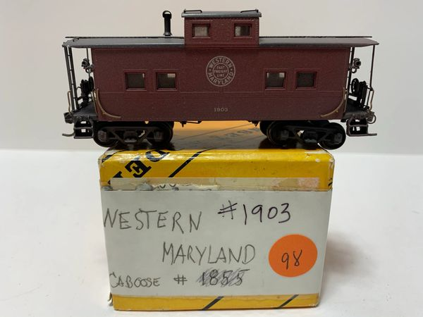 HO Brass Western Maryland Caboose Painted & Weathered
