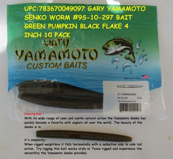 19-10-297 Green Pumpkin Black Flake 6 Inch Baits RARE Gary Yamamoto Grub