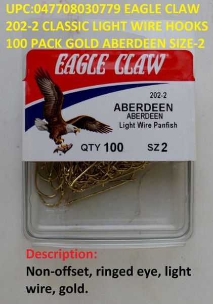 New Eagle Claw classic Aberdeen 202 Size 4 Gold Fish Hooks Box of 100