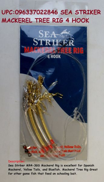 SEA STRIKER MACKEREL TREE RIG 4 HOOK