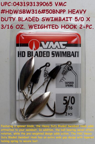 VMC #HDWSBW316#50BNPP HEAVY DUTY BLADED SWIMBAIT 5/0 X 3/16 WEIGHTED HOOK  2-PC