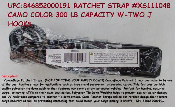 Ratchet Strap Xs111048 Camo Color 300 Lb Capacity W Two J