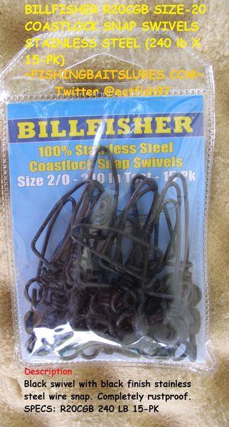 Dull Black 100pk CSB20-100pk NEW Billfisher 3-Way Combi Swivels 2//0 x 2//0 225lb