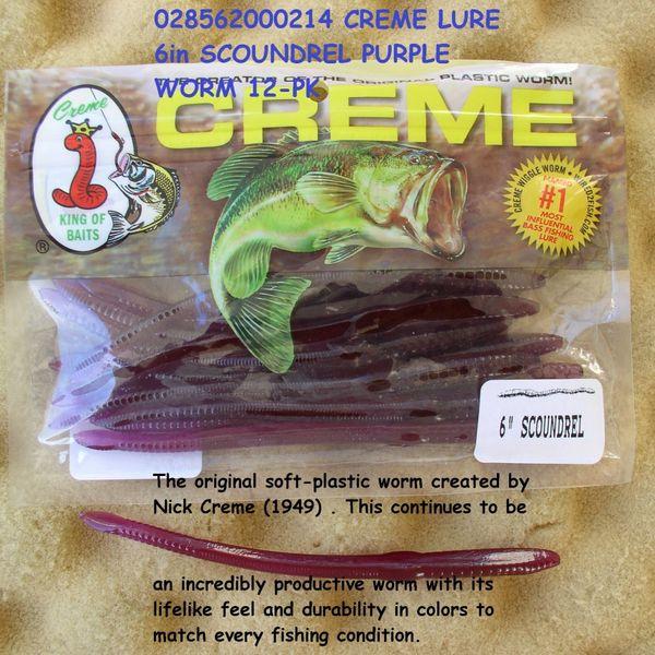 "12 Pk Purple Fishing Sinkbait Lure Creme 336-99-7 8/"" Scoundrel Worms"