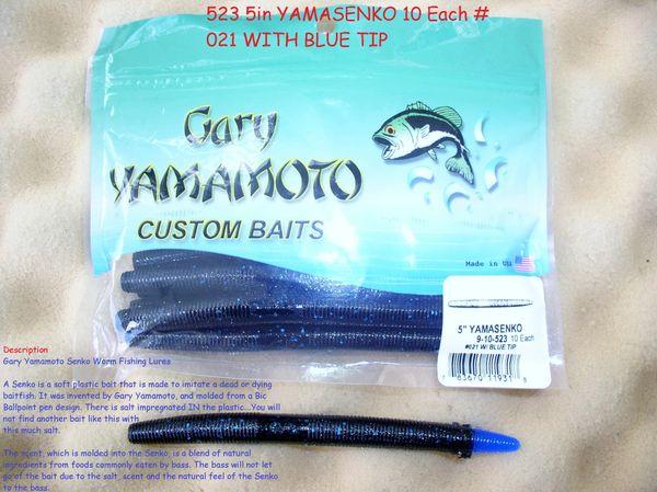 GARY YAMAMOTO 5 in 9-10-523 #021 W / BLUE TIP YAMASENKO SOFT PLASTIC  FISHING WORM