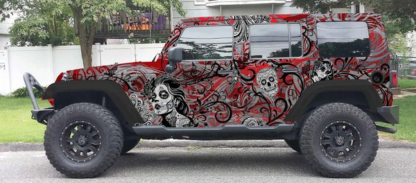 Floral Red Candy Jeep Wrangler Jeep Wrap Vinyl Check Out Our Grill