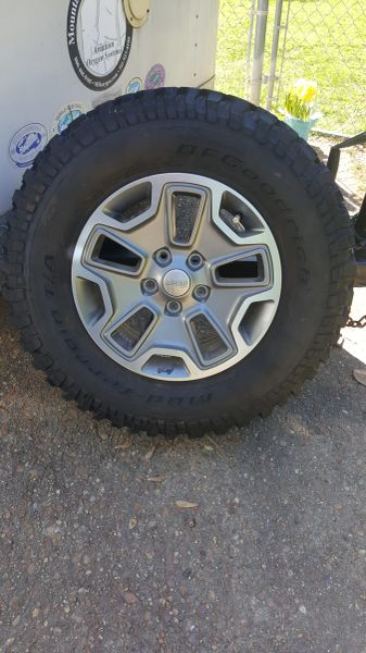 2015 Jeep Rubicon Unlimited Factory Tires and Rims (Set $600.00 firm).