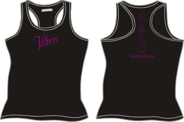 """HALO """"Vixen"""" Ladies Razerback Tank Top - Black"""