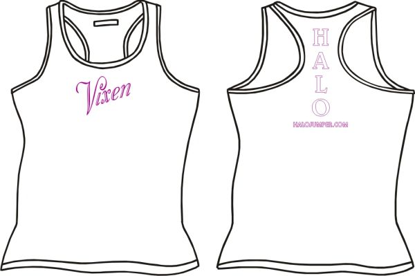 "HALO ""Vixen"" Ladies Razerback Tank Top - White"