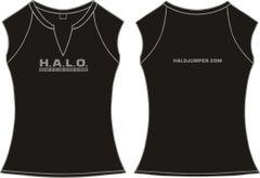 Ladies H.A.L.O Spandex Slit-V Raglan T-Shirt - Black
