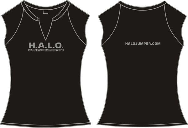 Ladies H.A.L.O Spandex Slit-V Raglan T-Shirt - Black