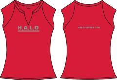 Ladies H.A.L.O Spandex Slit-V Raglan T-Shirt - Red