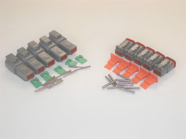 5 sets GRAY Deutsch DT 2-Pin Connectors 16-18 ga AWG Solid Contacts