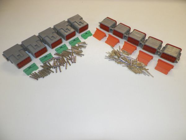 5 sets GRAY Deutsch DT 12-Pin Connectors 16-18 ga AWG Solid Contacts