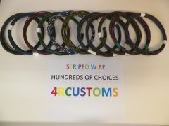 BLACK 18 gauge GXL wire - with stripe color and length options