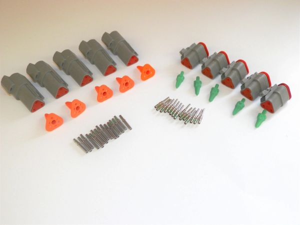 5 sets GRAY Deutsch DT 3-Pin Connectors 14-16-18 ga AWG Solid Contacts