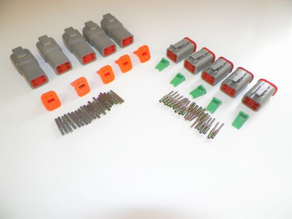 5 sets GRAY Deutsch DT 4-Pin Connectors 14-16-18 ga AWG Solid Contacts