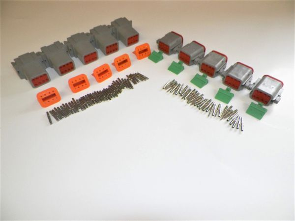 5 sets GRAY Deutsch DT 8-Pin Connectors 14-16 ga AWG Solid Contacts