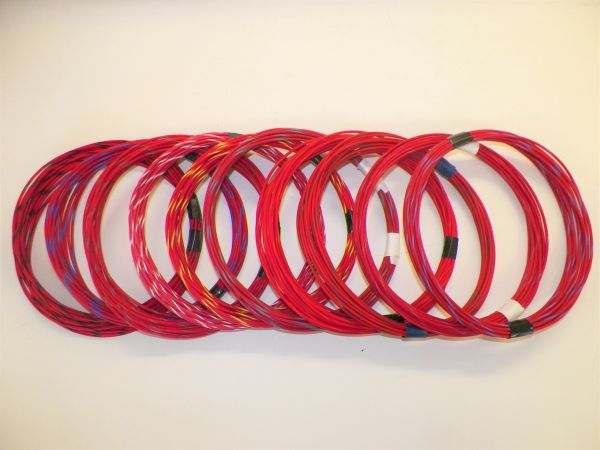 RED hi temp automotive 20 gauge TXL wire + 10 STRIPED color wiring options