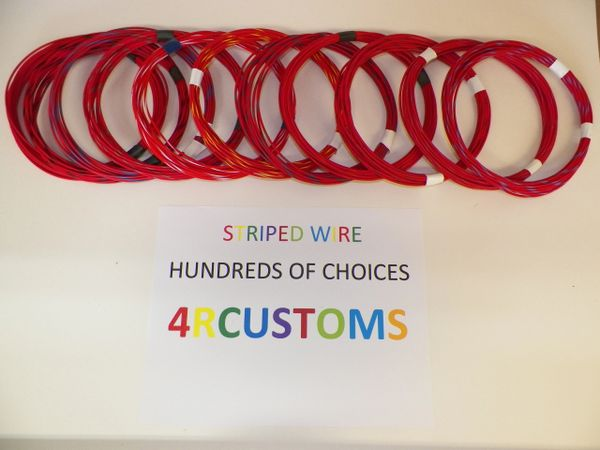 RED 18 gauge GXL wire - with stripe color and length options