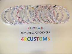 WHITE 18 gauge GXL wire - with stripe color and length options