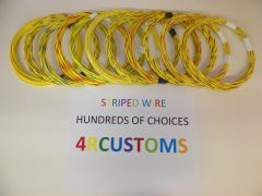 YELLOW 18 gauge GXL wire - with stripe color and length options