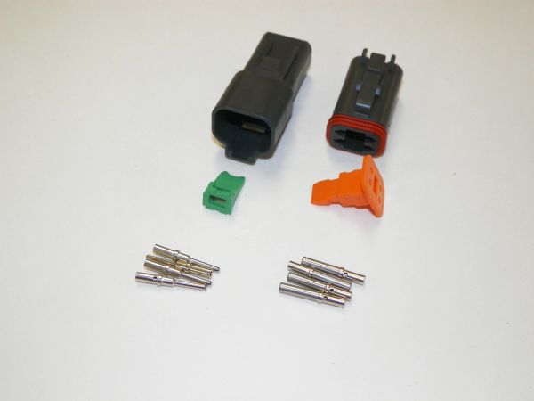 4X BLACK DEUTSCH DT SERIES CONNECTORS SET 16-18-20 WITH SOLID TERMINALS