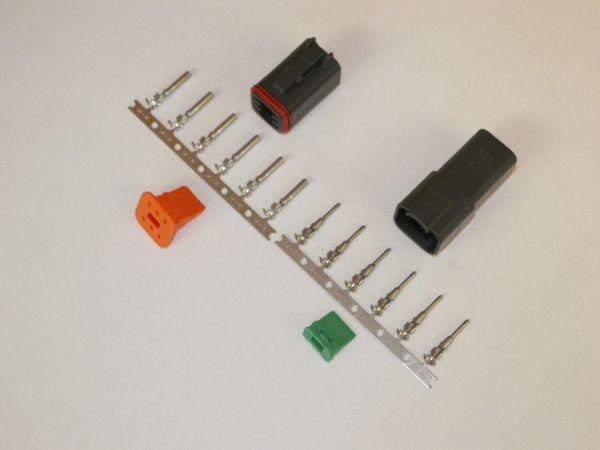 6X Black Deutch DT Series Connector Set 14-16-18 STAMPED Nickel Terminals