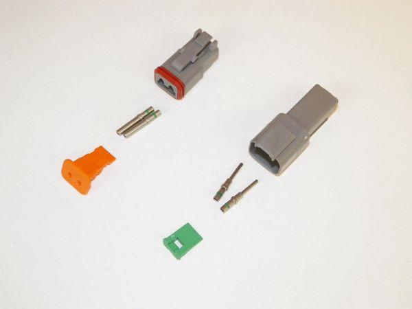 2X Gray Deutsch DT Series Connector Set 14-16-18 SOLID Nickel Terminals