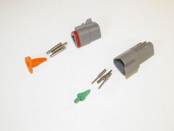 3X Gray Deutsch DT Series Connector Set 14-16-18 SOLID Nickel Terminals