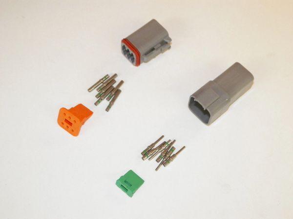 6X Gray Deutsch DT Series Connector Set 14-16-18 SOLID Nickel Terminals