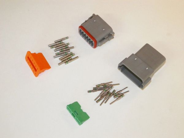 12X Gray Deutsch DT Series Connector Set 14-16-18 SOLID Nickel Terminals