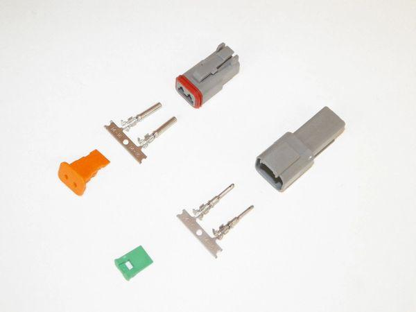 2X Gray Deutsch DT Series Connector Set 14-16-18 STAMPED Nickel Terminals