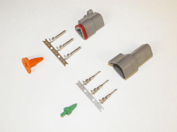 3X Gray Deutsch DT Series Connector Set 14-16-18 STAMPED Nickel Terminals